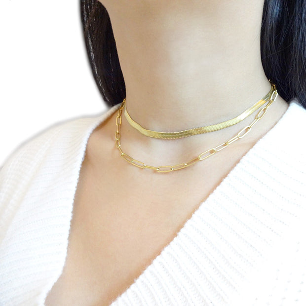 KIKICHIC Gold Snake Chain Necklace, Herringbone Chain Choker, Thin Herringbone Chain Necklace, 4mm Thickness Herringbone Gold Choker, Silver Flat Choker Necklace, Silver Herringbone Choker, Flat Silver Herringbone Choker, Herringbone Chain Gold Choker, Snake Chain Flat Choker Necklace.
