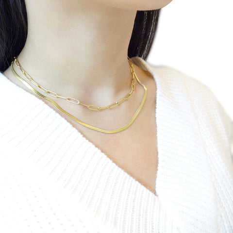 KIKICHIC Gold Snake Chain Necklace, Herringbone Chain, Thick Chain Necklace, 4mm statement, Gold Flat Choker Necklace, Rose Gold Herringbone Choker, Flat Silver Choker, Herringbone Chain Rose Gold Choker, Snake Chain Flat Choker.