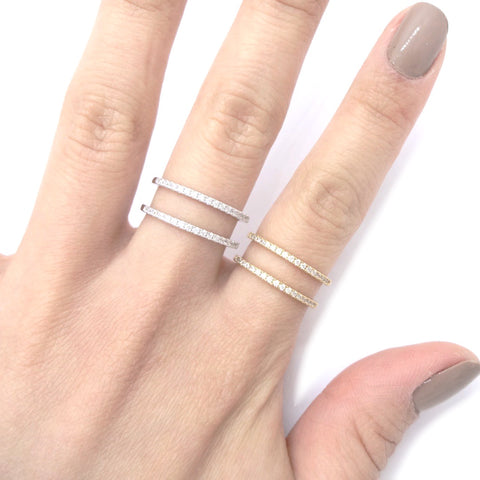 KIKICHIC CZ Double Band Stackable Rings Sterling Silver (925), Wedding Enhancer Stack Ring, Cubic Zirconia Pave Modern Double Band Ring 14k Gold, Double Row Rose Gold Ring Adjustable, Double Line CZ Open Ring Adjustable Sterling Silver (925), Diamond Pave Eternity Band Double Ring.