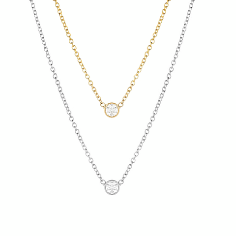 KIKICHIC Solitaire Necklace Sterling Silver, 18k Gold Necklace with tiny cz, simple cz diamond necklace gold, single cz necklace, tiny cz necklace, tiny diamond necklace, Small bezel diamond necklace