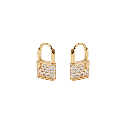KIKICHIC Small CZ Diamond Lock Hoop Earrings 18k Gold, CZ Padlock Hoop Earrings Gold, Lock Hoop Earrings, Dainty Gold Lock Earrings, Tiny Hoop Lock Earrings Gold, Dangling Lock Earrings Gold, Lock Charm Hoop Earrings.