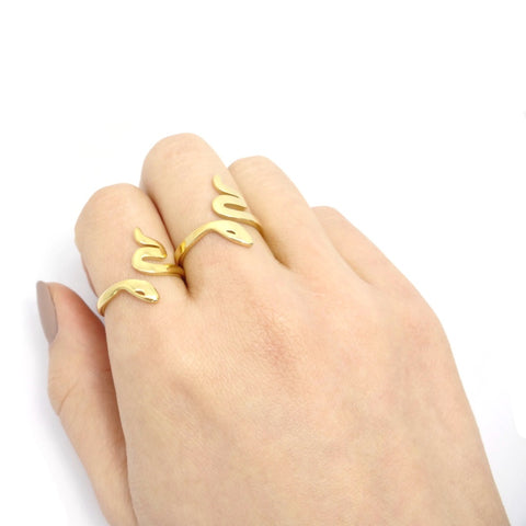 KIKICHIC Simple Gold Snake Stackable Rings Stainless Steel, Modern Gold Snake Ring Adjustable, Gold Cobra Open Ring, Minimal Snake Gold Adjustable Ring Stainless Steel, Snake Gold Open Ring, Dainty Serpent Ring Gold Filled.