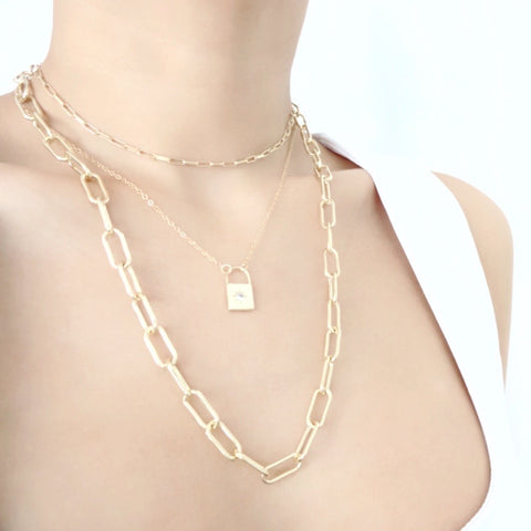 KIKICHIC Chunky Paper Clip Chain Link Choker Necklace in 14k Gold, Oval Thick Link Paper Clip Stacking Necklace Gold Filler, 14k Gold Thick Paper Clip Link Chain Choker, Paper Clip Rectangle Link Chain Necklace 14k Gold, Gold Chunky Paper Clip Link Chain Stacking Long Necklace, Paper Clip Flat Link Chain Gold Filled Choker, Fine Rectangle Paper Clip 14k Gold Necklace.
