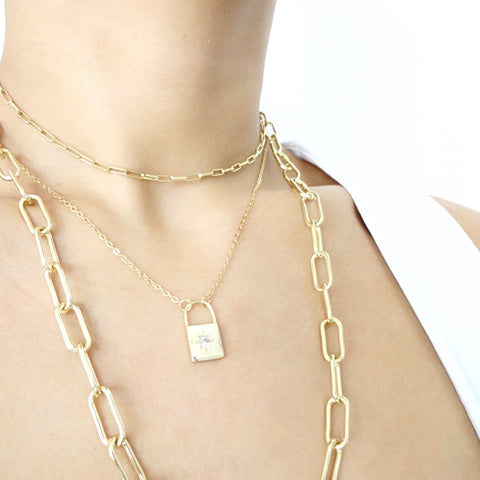 KIKICHIC Gold Lock Necklace, Diamond Starburst Padlock Necklace, CZ  Diamonds Lock Necklace Sterling Silver 18k Gold, Starburst Padlock Necklace Gold, Diamond Lock Dainty Necklace, Lock Shape Gold Necklace, Minimal Lock Necklace, Dainty Gold Lock Necklace, Starburst Crystal Lock Necklace