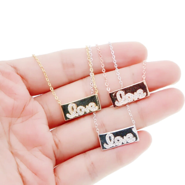 KIKICHIC Cursive love bar necklace. Cursive love word bar necklace, Valentine's Love Necklace, Sterling Silver Love Bar Necklace, 18k Gold Love Bar Necklace, Rose Gold Love Bar Necklace.