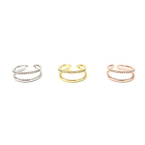 KIKICHIC CZ Double Band Stackable Rings Sterling Silver (925), Cubic Zirconia Pave Modern Double Band Ring 18k Gold, Double Row Rose Gold Ring Adjustable, Double Line CZ Open Ring Adjustable Sterling Silver (925)