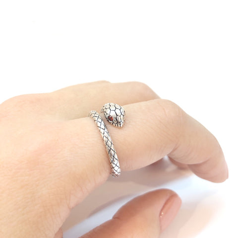 KIKICHIC Snake Ring Adjustable, Serpent Ring Silver, Gold Snake Ring, Wrap Snake Ring, Snake Design Jewelry, Snake Tail Ring, Serpent Coil Ring, Statement Snake Ring, Python Ring.
