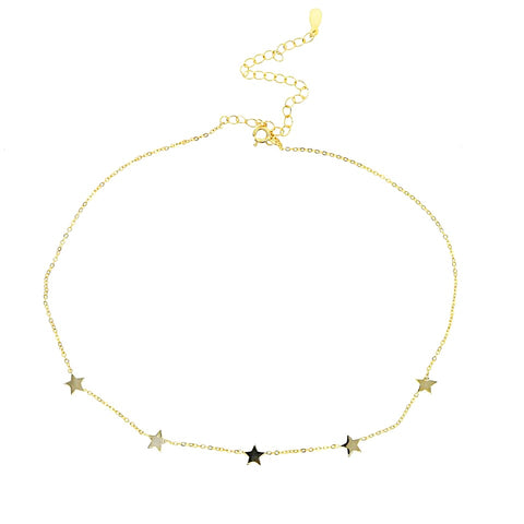 KIKICHIC Gold Stars Choker Necklace, Mini Stars Charm Choker Necklace, Sterling Silver Stars Choker Necklace, Small Dainty Star Choker Necklace, Star Chain Choker, Gold Filled Stars Necklace, Celestial Star Gold Choker