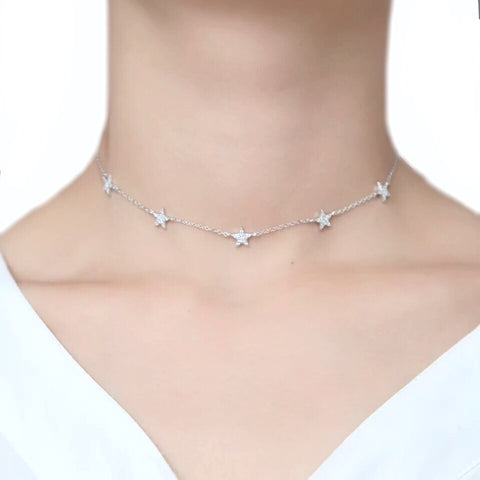 Mini Gold Star Pendant Silver or Rose Gold Star Choker in Gold Dainty Celestial Star Necklace