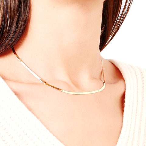 KIKICHIC Gold Snake Chain Necklace, Herringbone Chain, Thick Chain Necklace, 9mm statement, Gold Choker Necklace, Rose Gold Herringbone Choker, Flat Silver Choker, Herringbone Chain Rose Gold Choker, Snake Chain Flat Choker.