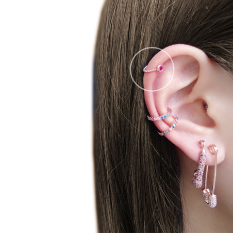 KIKICHIC CZ Diamond Pink Ruby Ear Cuff Adjustable Sterling Silver, Ruby Helix Cuff 18k Gold No Piercing Necessary Earrings, Comfortable Pink Ruby Ear Cuff Slip over the Ear. Rose Gold Single Ruby Stone Ear Cuff Earrings. Ruby Gem Minimalist Ear Cuff. Ruby Non Piercing Hoops, Pink Ruby Tiny Helix Ear Cuff, Ruby Helix Minimalist Ear Cuff.