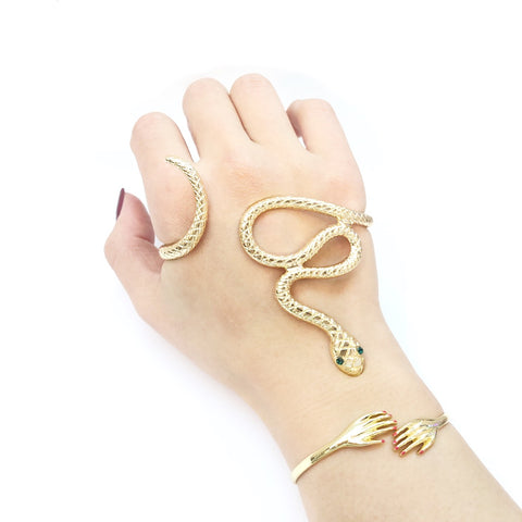 KIKICHIC Serpent Snake Palm Cuff Bracelet Adjustable, 18k Gold Snake Palm Bracelet Flexible, Unique Handmade Snake Cuff Palm Bracelet, Snake Hand Wrap Palm Bracelet, Open Bangle Snake V Palm Cuff.