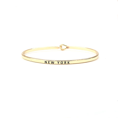 KIKICHIC Delicate Thin New York Words Cuff, Thin New York Script Cuff Bracelet, Skinny New York Bracelet, Stacking New York Bracelet in Sterling Silver, Gold Fill New York Cuff, New York Engraved Bracelet, New York Thin Bangle Gold, New York Stamp Bracelet