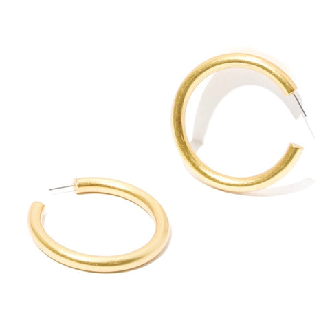 KIKICHIC Chunky Medium Size Hoop Earrings Silver and 18k Gold, Smooth Thick Medium Hoop Earrings, Silver Thick Hoop Lightweight Earrings.