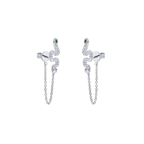 Green Eyes CZ Snake Chain Stud Earrings