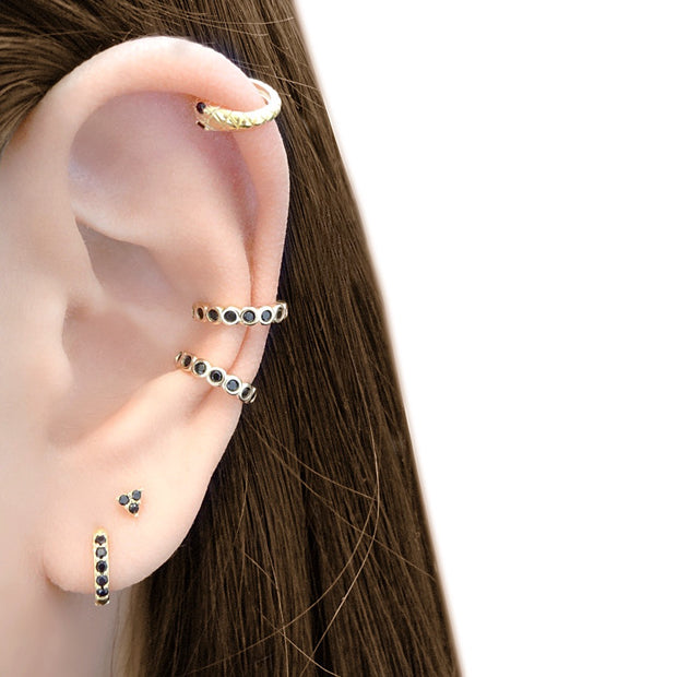 KIKICHIC CZ Diamond Black Stone Ear Cuff Adjustable Sterling Silver, Black Onyx Helix Cuff 14k Gold No Piercing Necessary Earrings, Comfortable Black Stone Ear Cuff Slip over the Ear. Circle Black Stone Ear Cuff Earrings. Black Gem Minimalist Ear Cuff. Black Onyx Non Piercing Hoops, Black CZ Tiny Helix Ear Cuff, Black Onyx Helix Minimalist Ear Cuff.