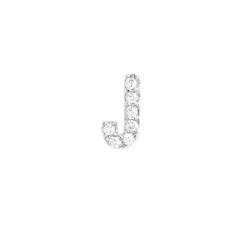 KIKICHIC Letter J Stud Earrings CZ Diamond Sterling Silver, Tiny Single Letter J Stud Earrings, White Gold CZ Diamond Initial J Stud Earrings, Small CZ Letter J Stud Earrings, CZ Pave Letter J Initial Name Stud Earrings, Name Initial J Earrings Small.