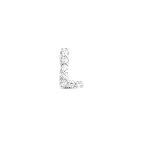KIKICHIC Letter L Stud Earrings CZ Diamond Sterling Silver, Tiny Single Letter L Stud Earrings, White Gold CZ Diamond Initial L Stud Earrings, Small CZ Letter L Stud Earrings, CZ Pave Letter L Initial Name Stud Earrings, Name Initial L Earrings Small.