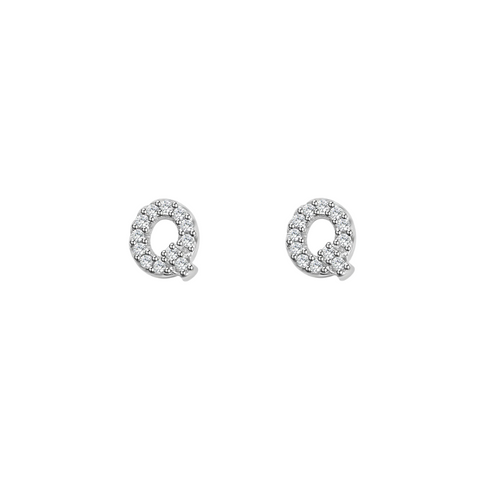 KIKICHIC Letter Q Stud Earrings CZ Diamond Sterling Silver, Tiny Single Letter Q Stud Earrings, White Gold CZ Diamond Initial Q Stud Earrings, Small CZ Letter Q Stud Earrings, CZ Pave Letter Q Initial Name Stud Earrings, Name Initial Q Earrings Small.