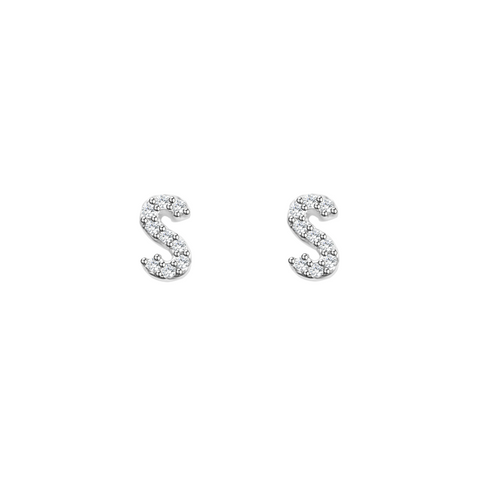 KIKICHIC Letter Stud Earrings CZ Diamond Sterling Silver, Tiny Single Letter Stud Earrings, White Gold CZ Diamond Initial Stud Earrings, Small CZ Letter Stud Earrings, CZ Pave Letter Initial Name Stud Earrings, Name Initial Earrings Small.