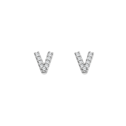 KIKICHIC Letter V Stud Earrings CZ Diamond Sterling Silver, Tiny Single Letter V Stud Earrings, White Gold CZ Diamond Initial V Stud Earrings, Small CZ Letter V Stud Earrings, CZ Pave Letter V Initial Name Stud Earrings, Name Initial V Earrings Small.
