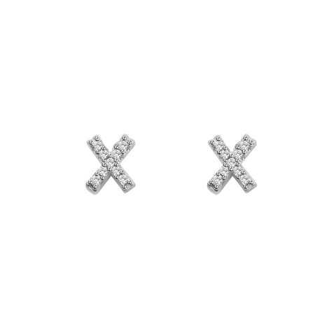 KIKICHIC Letter X Stud Earrings CZ Diamond Sterling Silver, Tiny Single Letter X Stud Earrings, White Gold CZ Diamond Initial X Stud Earrings, Small CZ Letter X Stud Earrings, CZ Pave Letter X Initial Name Stud Earrings, Name Initial X Earrings Small.