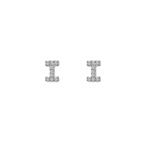 KIKICHIC Letter i Stud Earrings CZ Diamond Sterling Silver, Tiny Single Letter i Stud Earrings, White Gold CZ Diamond Initial i Stud Earrings, Small CZ Letter i Stud Earrings, CZ Pave Letter i Initial Name Stud Earrings, Name Initial i Earrings Small.