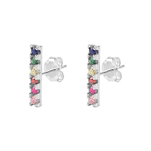 KIKICHIC Long CZ Diamond Rainbow Bar Stud Earrings Sterling Silver, CZ Diamond Rainbow Pave Second Piercing Earrings Bar, Long Solid Bar Rainbow Stud Earrings, 14k Gold Tall Rainbow Bar Stud Earrings, Bar Long Rainbow Stud Earrings, Cartilage Rainbow Bar Earrings, Diamond Rainbow Bar Stud Earrings, Diamond Pave Rainbow Bar Earrings.