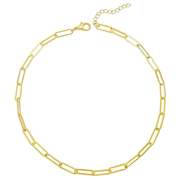 Oval Paper Clip Link Choker Necklace