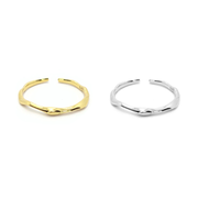 KIKICHIC Open Bamboo Band Ring Sterling Silver (925), Dainty Bamboo Design Open Ring 18k Gold, Thin Stackable Open Bamboo Ring Gold, Bamboo Minimalist Open Ring Adjustable 18k Gold, Simple Adjustable Open Bamboo Ring Silver, Modern Midi Open Bamboo Ring Stacks, Solid Sterling Thin Bamboo Open Rings.