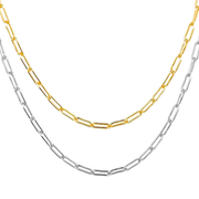 KIKICHIC Gold Oval Link Choker Necklace, Silver Link Chain Choker Necklace, Rectangle Link Chain Necklace Sterling Silver, Paper Clip Link Chain Choker Necklace Gold, Flat Link Chain Silver Choker Necklace, Fine Rectangle 18k Gold Filled Choker Necklace.