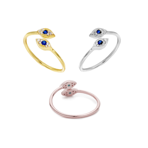 KIKICHIC CZ Diamond Pave Evil Eye Stackable Rings Sterling Silver (925), Cubic Zirconia Pave Modern Evil Eye Ring 18k Gold, CZ Double Evil Eye Rose Gold Ring Adjustable, Minimal Turkish Eye CZ Open Ring Adjustable Sterling Silver (925), Good Luck Eye Crystal Ring, Dainty CZ Diamond Blue Eye Stack Ring
