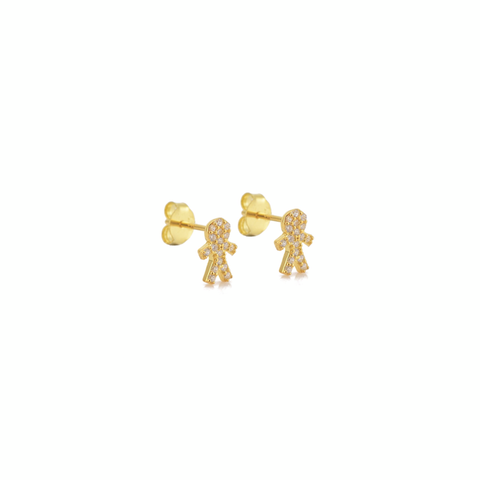 KIKICHIC CZ Pave Little Boy Stud Earrings Sterling Silver, Rose Gold Boy Shape Stud Earrings, 18k Gold Mini Mom Earrings, CZ Pave Diamond Boy Figure Earrings Silver, Diamond Kid Shape Earrings, Yellow Gold Children Earrings, Minimalist Tiny Children Family Lover Stud Earrings.