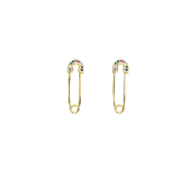 KIKICHIC Small Rainbow Safety Pin Earrings, Gold Safety Pin Earrings, Colorful Safety Pin Earrings in Gold, Dainty Safety Pin Earrings, Tiny Safety Pin Earrings, Rainbow Paperclip Earrings, CZ Rainbow Safety Piny Earrings, Tiny Gold Safety Pin Earrings