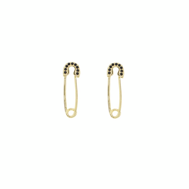 KIKICHIC Small Black Stone Safety Pin Earrings, Gold Safety Pin Earrings, Black Stone Safety Pin Earrings in Gold, Dainty Safety Pin Earrings, Tiny Safety Pin Earrings, Black Stone Paperclip Earrings, CZ Black Stone Safety Piny Earrings, Tiny Gold Safety Pin Earrings