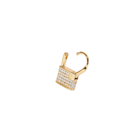 CZ Lock Huggies Earrings