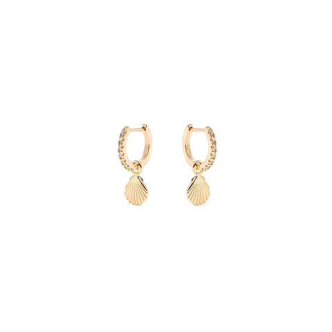 KIKICHIC Sea Shell Diamond Huggies Hoops Earrings Gold, Shell Huggies in Silver, Rose Gold Huggies Hoops Earrings, Mini Ear Huggies Shell Charm, CZ Pave Diamond Hoops Earrings, Shell Charm Gold Hoops Huggies, Dainty Shell Earrings.