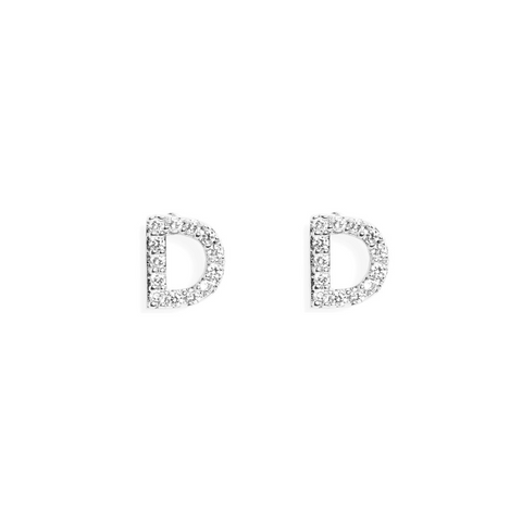 KIKICHIC Letter D Stud Earrings CZ Diamond Sterling Silver, Tiny Single Letter D Stud Earrings, White Gold CZ Diamond Initial D Stud Earrings, Small CZ Letter D Stud Earrings, CZ Pave Letter D Initial Name Stud Earrings, Name Initial D Earrings Small.
