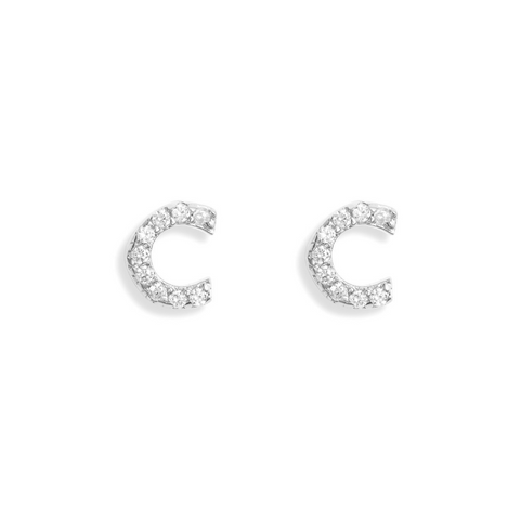 KIKICHIC Letter C Stud Earrings CZ Diamond Sterling Silver, Tiny Single Letter C Stud Earrings, White Gold CZ Diamond Initial C Stud Earrings, Small CZ Letter C Stud Earrings, CZ Pave Letter C Initial Name Stud Earrings, Name Initial C Earrings Small.