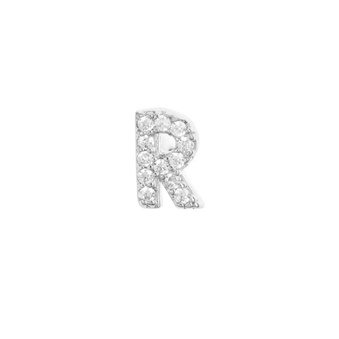 KIKICHIC Letter R Stud Earrings CZ Diamond Sterling Silver, Tiny Single Letter R Stud Earrings, White Gold CZ Diamond Initial R Stud Earrings, Small CZ Letter R Stud Earrings, CZ Pave Letter R Initial Name Stud Earrings, Name Initial R Earrings Small.