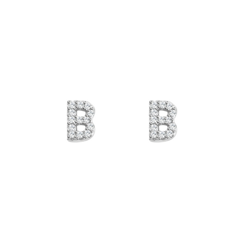 KIKICHIC Letter B Stud Earrings CZ Diamond Sterling Silver, Tiny Single Letter B Stud Earrings, White Gold CZ Diamond Initial B Stud Earrings, Small CZ Letter B Stud Earrings, CZ Pave Letter B Initial Name Stud Earrings, Name Initial B Earrings Small