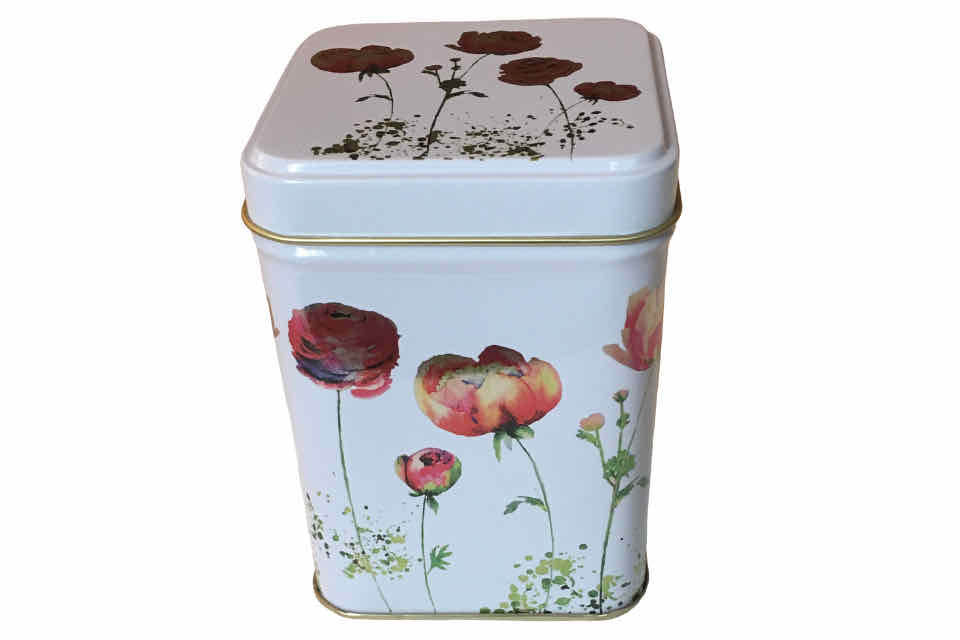 "Iridescent ""Roses"" Tea Storage Canister - The Tea Time Shop"