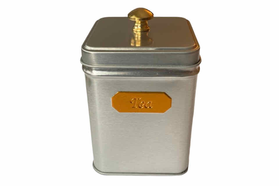 Silver Canister. The Tea Time Shop