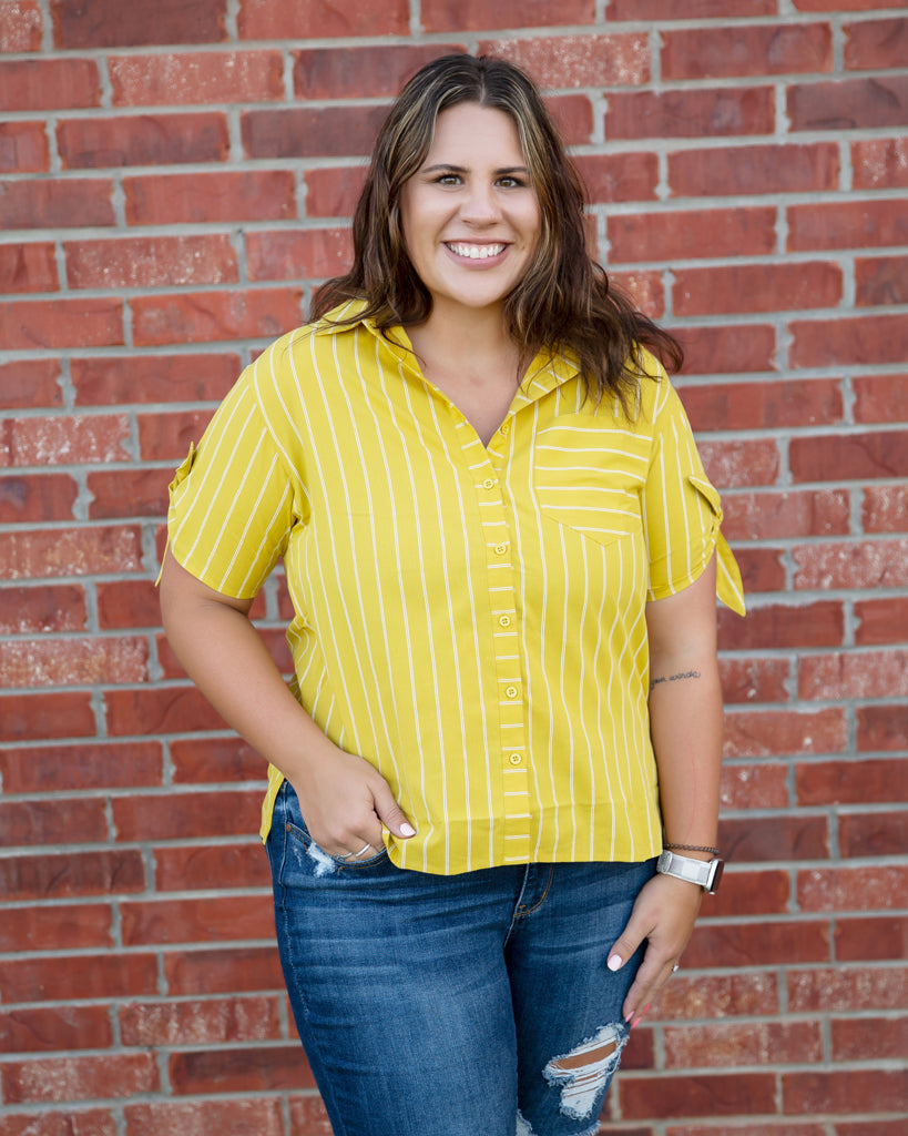 Mustard Stripe Knotted Sleeve