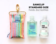 "The Standard SaniClip which holds standard drug-store sized 2 oz hand sanitizer bottles.  It measures 3"" x 6.5""."