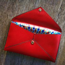 Open brushed leather envelope wallet with 'mosaic' print lining
