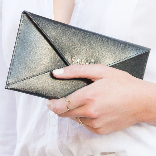 Brushed leather black envelope wallet