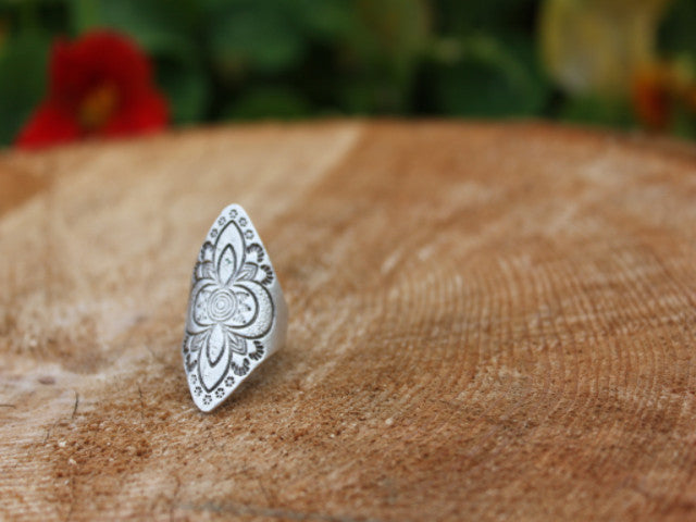 Silver plated ring handcrafted in Turkey
