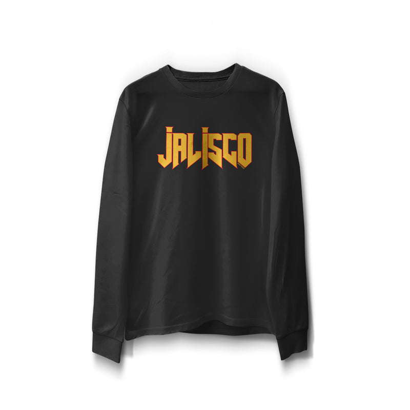 "black long sleeve word print ""Jalisco"" in orange with red outline"