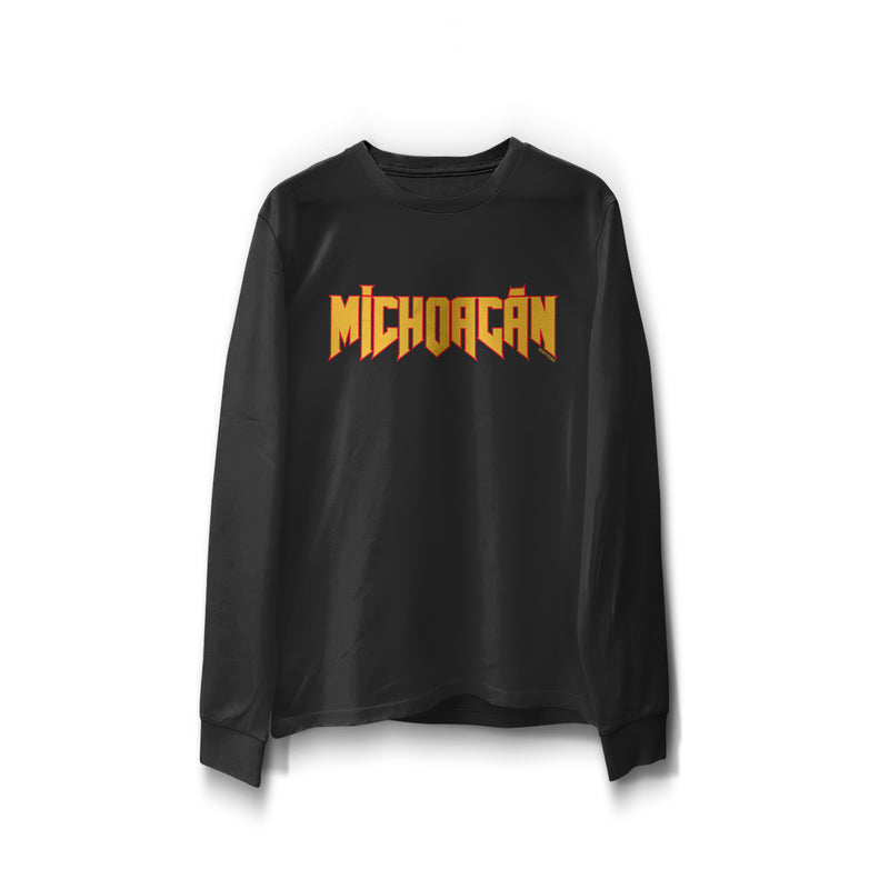 "black long sleeve word print ""Michoacán"" in orange with red outline"